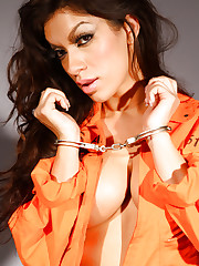 Posing action at the prison features sexy Peaches