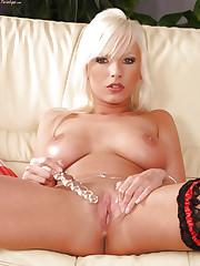 Alexis with a wet dildo