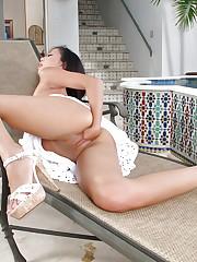 Superb brunette Rosemary Radeva in white panties