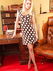 Stunning blonde secretary Natasha Marley shows off her..