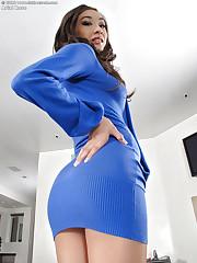 Honey in a blue dress