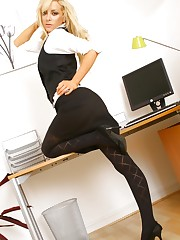Naughty secretary Rachael Cook loves to tease her work..