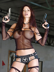 Veronika Zemanova shows her big tits and pistols