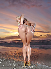 Temptress poses on the beach
