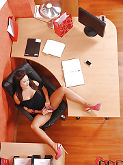 Beautiful babe playing in office