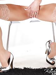 Rachel Aziani in a sexy secretary business suit