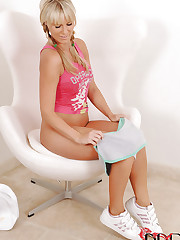 Blonde babe Sandra Hill in pigtails