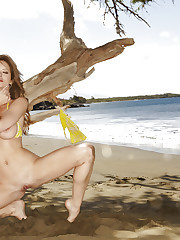 Emily Addison teases her wet pussy at the beach
