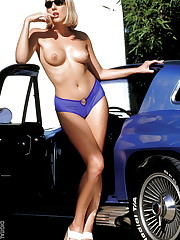 parks her sweet ride at the beach and strips down