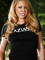 Sexy blonde hottie, Brynn Tyler, wearing her