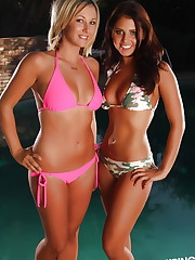 Cali Logan and her blonde friend take off their bikini..