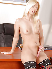 Babe masturbating in her office