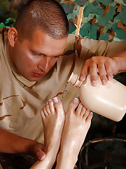 Hot young babe's footjob in uniform