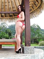 Jada Stevens loves her sexy red bikini suit