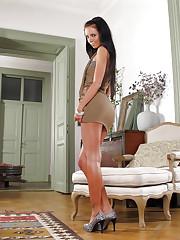 Skinny model Gina Devine in luxury white panties