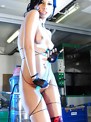 Busty girl Justyna plays with her big guns