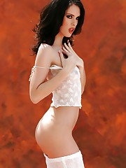 is a fair skinned brunette with a lovely thin body