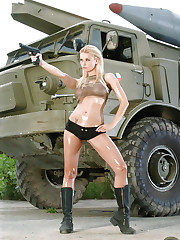 Outdoor action scene with the beautiful Kathy Lee