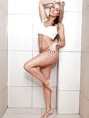 Natasha Marley masturbates at the shower room