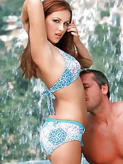 Bikini babe Dani riding on a cock