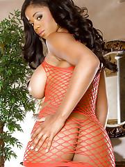 Ebony model Eden Evans in sexy fishnet lingerie