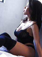 Yana Black featured in a luxury black lingerie